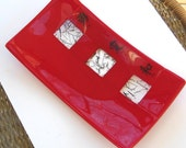 Red Asian Inspired Fused Glass Sushi Plate, Glass Sushi Platter, Fused Glass Platter, Red Fused Glass Plate --Kanji Symbols