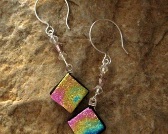 Fused Glass Earrings, Dichroic Fused Glass Drop Earrings, Pink and Gold  Fused Glass Dangle Earrings, Beaded Swing Earrings