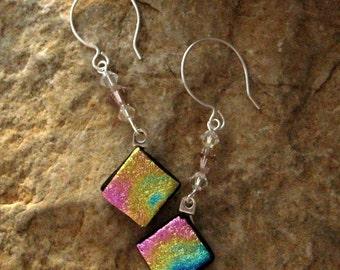 Fused Glass Earrings, Dichroic Fused Glass Drop Earrings, Pink and Gold  Fused Glass Dangle Earrings, Beaded Swing Earrings