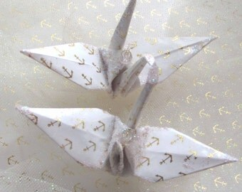 Gold Anchor Peace Crane Bird, Wedding Cake Topper,  Party Favor Origami Christmas Ornament Paper Place Card Holder Nautical Table Decoration