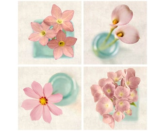 Pink Photo Set, Art for Girls Room, Floral Art Print Set, Pink Flower Decor, Aqua & Pink Wall Art, Pink Home Decor, Set of 4 Prints