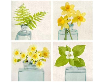 Flower Photo Set, Green and Yellow, Floral Wall Art, Flower Photography, Art Set, Fine Art Prints