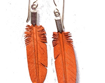 mini brown leather feather earrings - trial ride