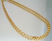 """Gold Tone Monet Box Chain Necklace 24"""" Vintage"""