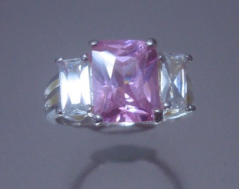 Sterling Silver Pink Clear Cubic Zirconia  Ring Vintage