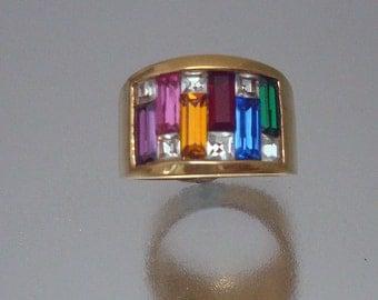 Multi  Rhinestone Ring Vintage City Lights Unused