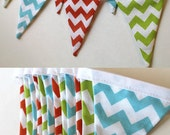 Customizable Red Chevron, Aqua, Gray, pink, Brown, lime, orange Bunting party decoration. Fabric sewn flag banner. Photo prop. Choose colors