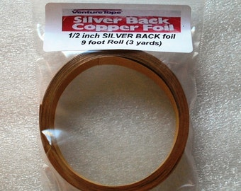 9 feet of  X Wide 1/2 inch SILVER BACK Foil Tape for Jewelry Solder Art Pendants or Boxes - 3 Yard Roll