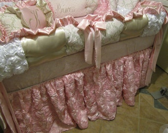 Girls Custom Crib set  luxury Pink and Taupe bedding