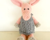 Natural Stuffed Animal Toy, Lily the pink Piggy,  handKnit by Woolies, Ready to Ship - woolies