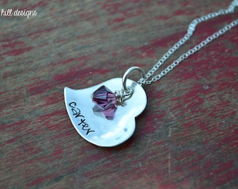 hand stamped sterling silver heart necklace-personalized-all my love