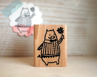 lucky pig - rubberstamp - 40x50mm - by SiebenMorgen