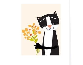 Tuxedo Cat Note Card Set original illustration my funny cat handmade greeting cards