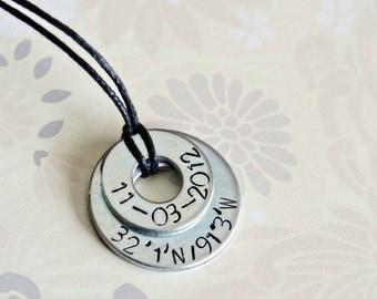 Wedding / Anniversary Metal Stamped Necklace - Latitude / Longitude / Coordinates