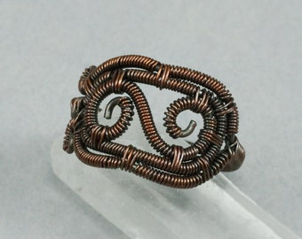 Copper Scroll Ring - Size 6 - CLEARANCE