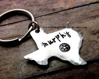 Texas-keychain-ornament-handstamped-personalized-texan