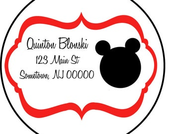 addresss labels, round or square, mickey mouse, set of 20