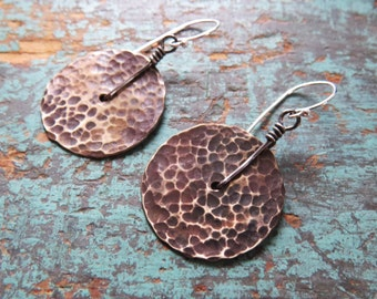 Small Brass Disk Earrings