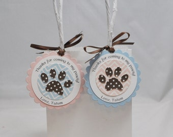 Personalized Puppy Themed Thank you Favor Tags- Set of 12
