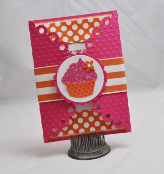 Handmade Cupcake Invitations- Girl 1st Birthday- Set of 10
