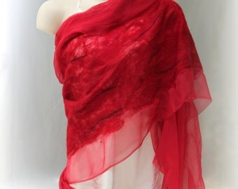 Red Nuno Shawl-Scarf felted sheer cashmere-soft  merino silk - different sizes available