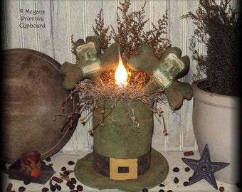 Primitive St Patricks Shamrocks & Hat Lamp doll Pattern epattern