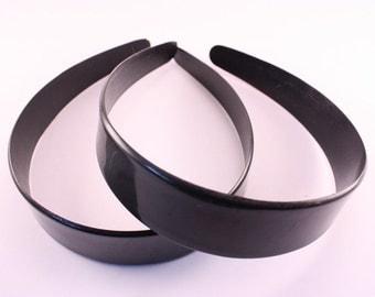 12 pieces - 35mm Black Plastic Headbands