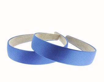 2 pieces - 25mm (1 inch) Satin Covered Headband in Electric Blue