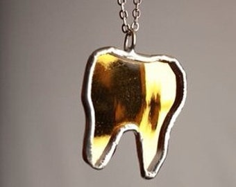 Gold Mirror Tooth Pendant by Glass Action