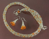 RESERVED FOR JEN: Viking Knit Silver Necklace and Earrings with Carnelian