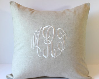 Monogrammed Pillow Cover. NATURAL LINEN. Monogram Decorative Pillow 18 x 18. Wedding Gift. Farmhouse Decor. Rustic Barn Wedding. Shabby Chic