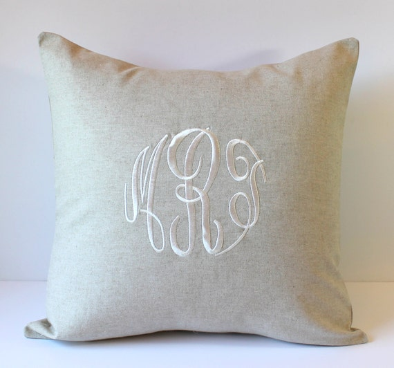 Decorative Monogram Pillow Cover. NATURAL LINEN. Personalized