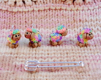 Multi Colored Sheep knitting or crochet stitch markers - Set of 4 - Polymer Clay