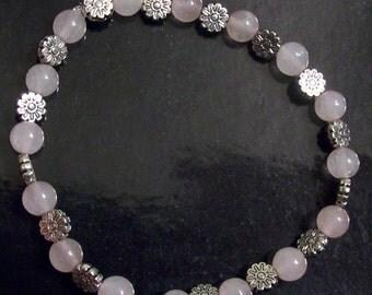Rose Quartz and Pewter Flowers Bracelet