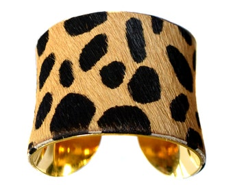 Classic Leopard Print Pony Hair Cuff Bracelet  - by UNEARTHED