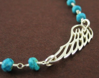 Silver Angel Wing Bracelet Gift for Her Silver Wing Charm Blue Turquoise Gemstone Nature Jewelry Ready to Ship