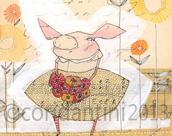 pig - watercolor painting - children's art - illustration - 8 x 10 inches - archival, limited edition print by cori dantini