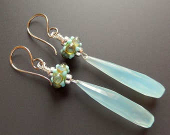 Silver and Lampwork Glass Earrings Aruba Drops, Sterling Silver and Elongated Faceted Chalcedony Briolettes