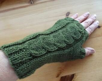 FINGERLESS GLOVES/ARMWARMERS/Olive Green Ladies Knitted Fingerless Gloves-Womens Knit Wrist Warmers-Ready to Ship