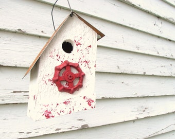 Rustic Birdhouse, Wood Birdhouse, Outdoor Birdhouse, Decorative Bird House, White and Red Birdhouses, Vintage Faucet