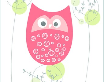 Owl in Pink Digital Art Print, 8x10