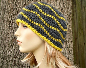 Crochet Hat Womens Hat - Waves Beanie Mustard Yellow Charcoal Grey Crochet Hat - Grey Hat Grey Beanie Womens Accessories - READY TO SHIP