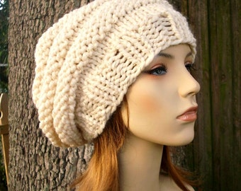 Cream Womens Hat Oversized Beehive Beret Hat Starlight Cream and Gold Chunky Knit Hat - Cream Hat Cream Beret Womens Accessories Winter Hat