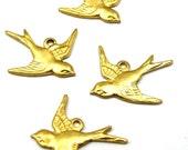 Brass Sparrow Bird Charms - Mirrored (4X) (M787)