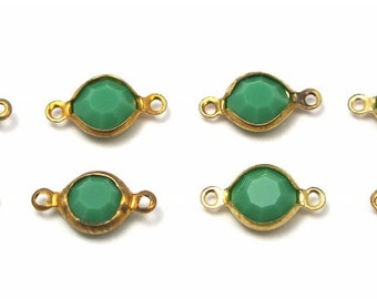 Vintage Apple Green Swarovski Crystal Rhinestone Connector Charms (8X) (S509)