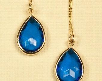 Vintage Blue Gem Drop Earrings
