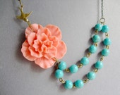 Statement Necklace,Coral Flower Necklace,Flower Necklace,Coral Necklace,Turquoise Necklace,Multi Strand,Bridesmaid Necklace,Wedding Necklace