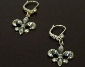 Sterling Silver Plated Fleur De Lis Leverback Earrings