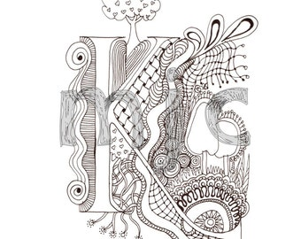 Colour-Me-In Alphabet- A-Z, the whole alphabet in Illuminated Letters, for colouring in, art  drawings by melanie j cook