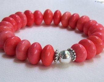 Chunky Turquoise Stretch Bracelet, Bright Salmon Pink, One Size Easy On/Off, Boho Stackable Gemstone Bracelet